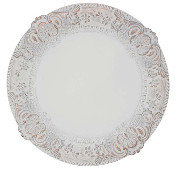 Sousplat imperial veneza branco rose