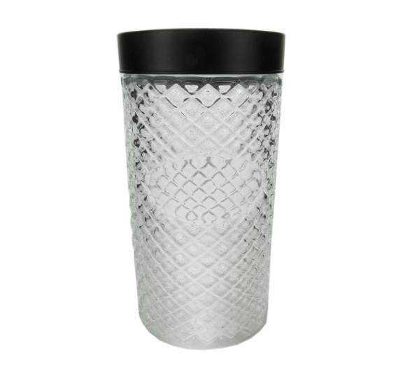 Pote vidro borossilicato c/tampa preta label 11x22cm
