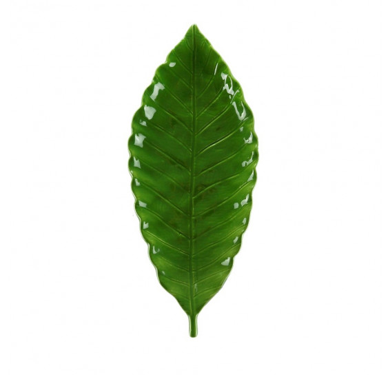 Folha decorativa ceramica verde 32x12x4cm royal decor