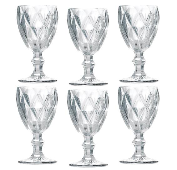 Jogo 06 taças agua diamond transparente lyor