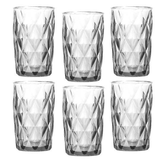 Jogo 06 copos altos diamond transparente lyor