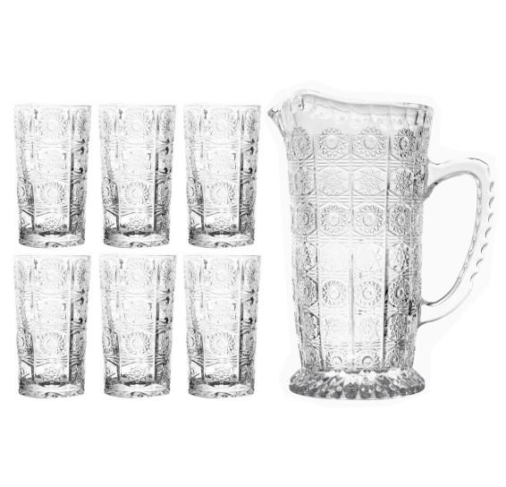 Jogo de jarra e 06 copos vidro starry bon gourmet