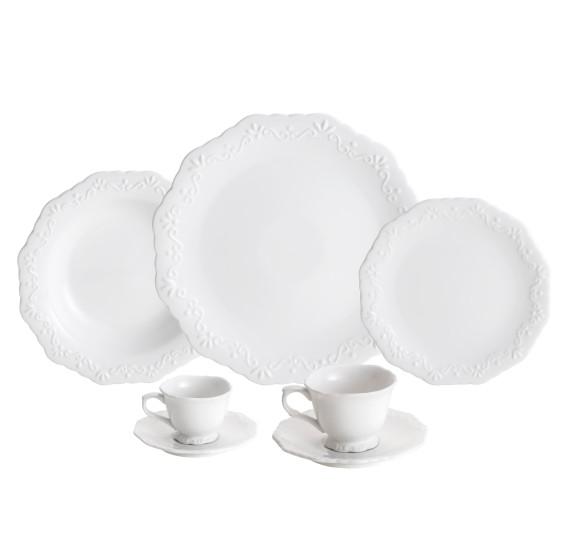 Jogo de jantar 42 peças porcelana branco wolff