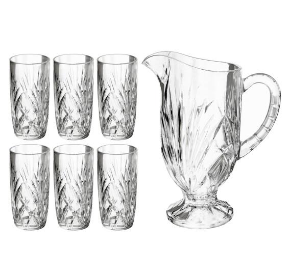 Jogo de jarra e 06 copos vidro alberta lyor