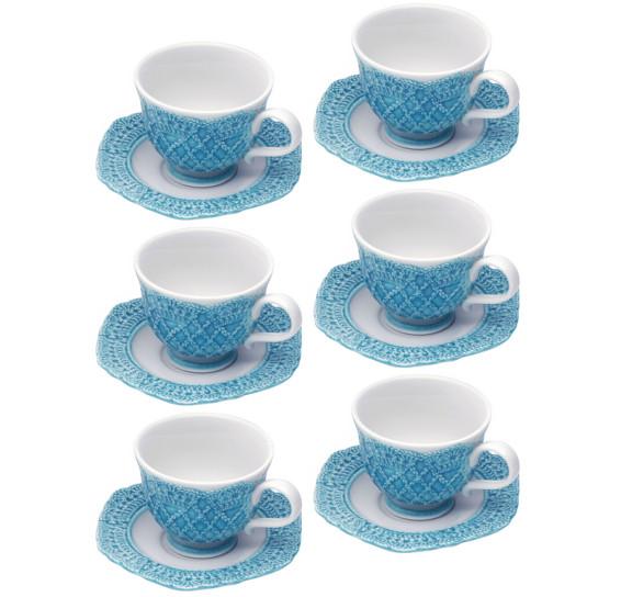 Jogo 06 xícaras café 90 ml porcelana givemy wolff