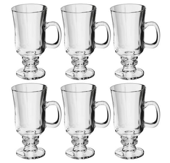 Jogo 06 taças c/ alça cappuccino vidro 114 ml lyor