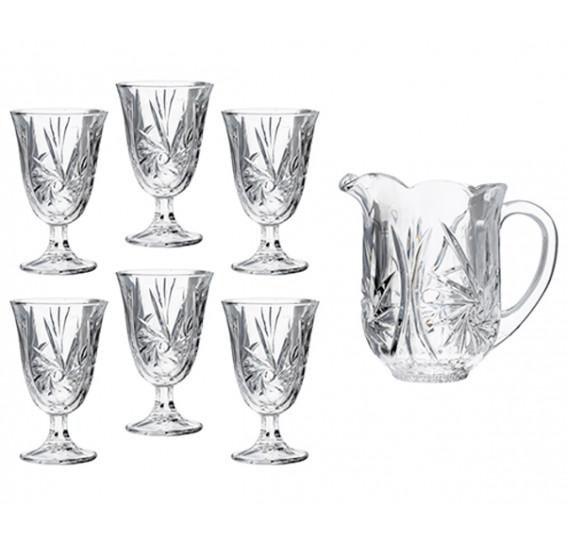 Jogo de jarra 06 taças cristal prima luxo lyor