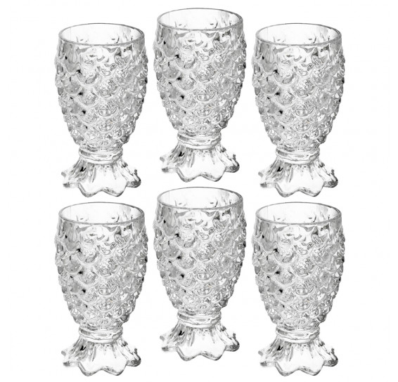 Jogo 06 copos água 200 ml vidro pineapple lyor