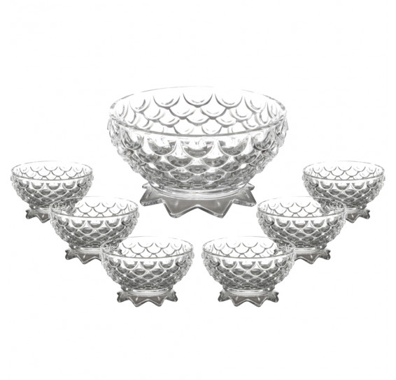 Jogo sobremesa 07 peças vidro pineapple lyor