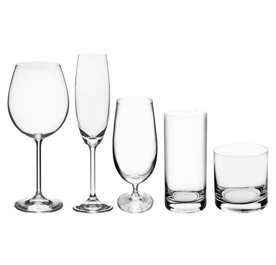 Jogo taças/copos 30 pçs cristal gastro bar bohemia