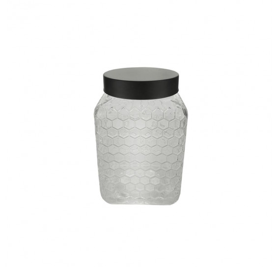 Pote vidro borossilicato c/tampa preta colmeia 13x20cm