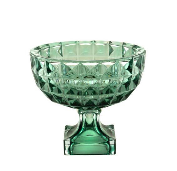 Centro de mesa cristal de chumbo com pé diamante verde 25 x 22 cm