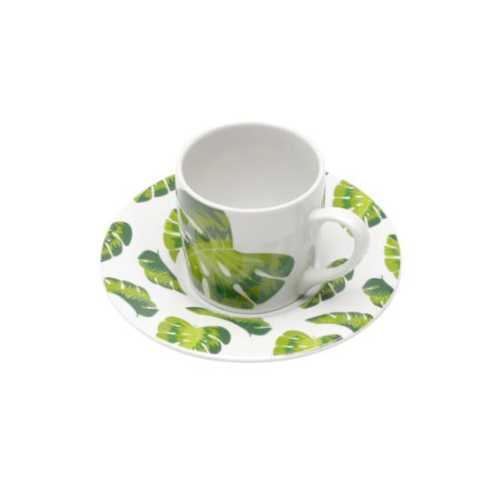 Conjunto 06 xicaras de porcelana para café com pires folhas 90 ml