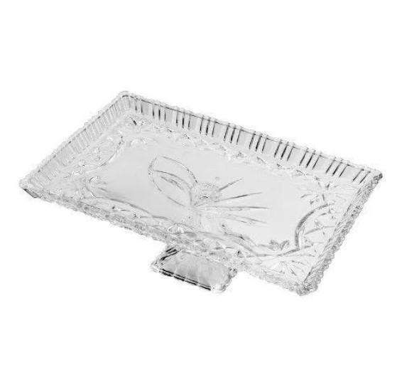 Prato para bolo com pé em cristal janine 29,5 x 19,5 cm