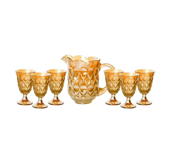 Cj 7pc jarra c/6 tacas de cristal de chumbo p/agua lile ambar 1,5l/240ml