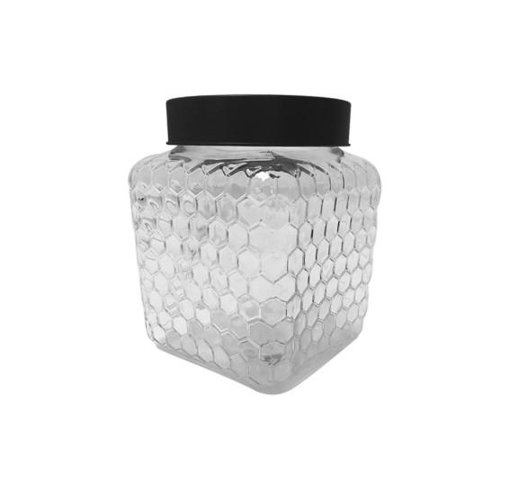 Pote vidro borossilicato c/tampa preta colmeia 13x16cm