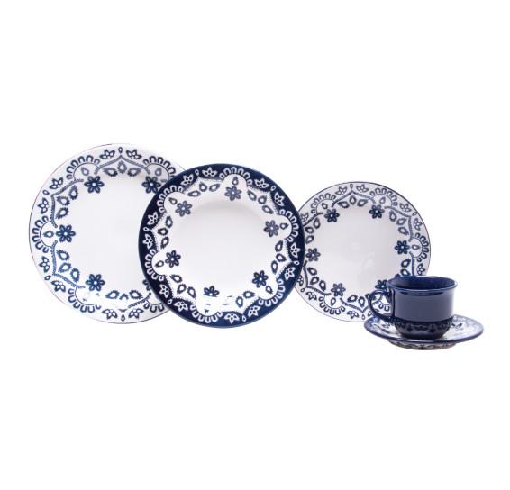 Aparelho de jantar 30 peças floral energy em cerâmica oxford