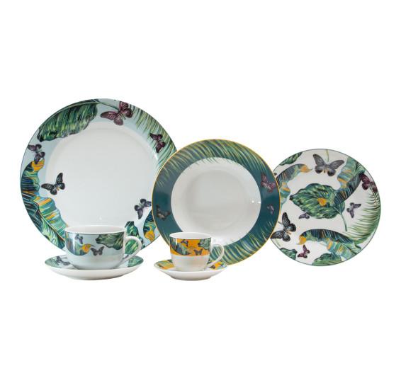 Aparelho de jantar 42 peças de porcelana super white nature lyor