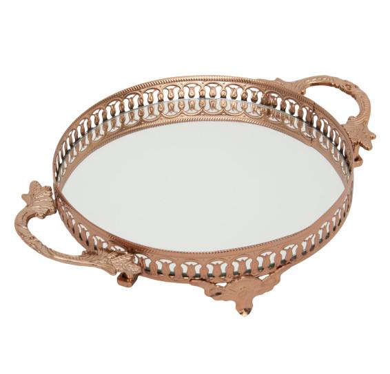 Bandeja redonda espelhada 31 cm ouro rose vylux