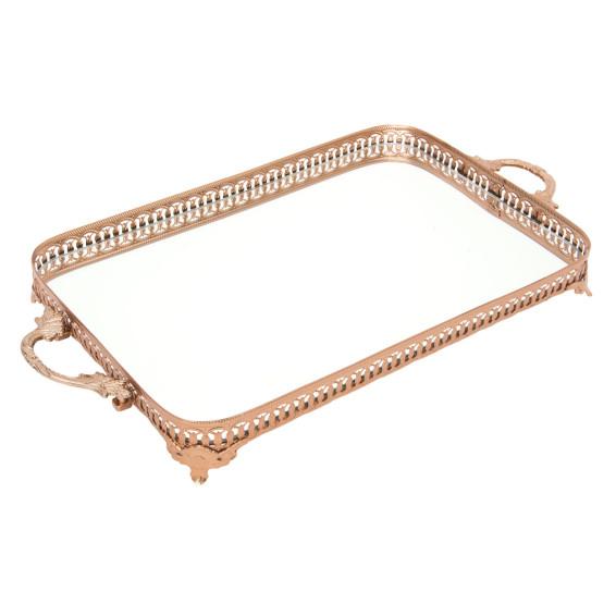 Bandeja retangular espelhada 57 cm ouro rose vylux