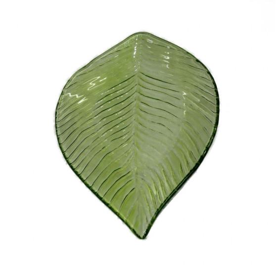 Centro de mesa folhagem em vidro cor verde l29.5xp25 a11.5 cm