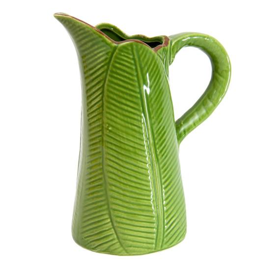 Jarro de ceramica leaf verde 17,5 cm lyor