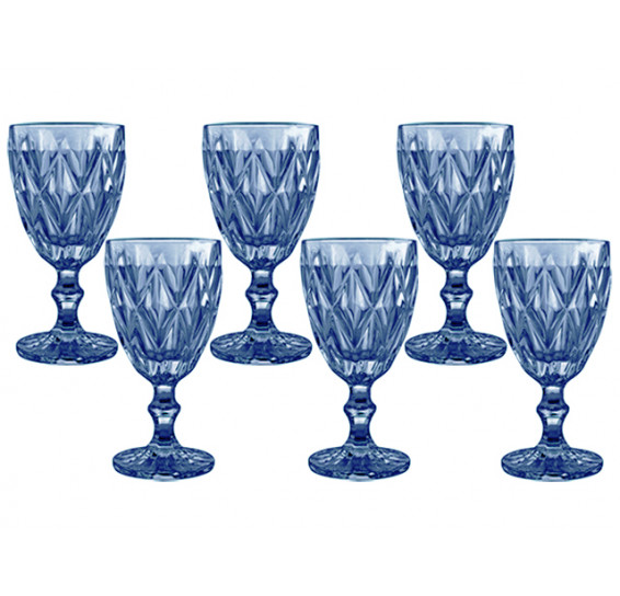 Jogo 06 taças para agua azul class home