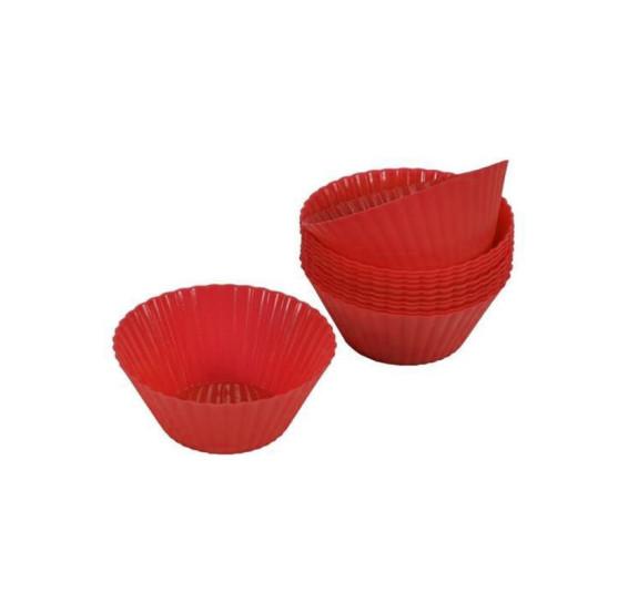 Jogo 12 formas cupcake silicone vermelho euro
