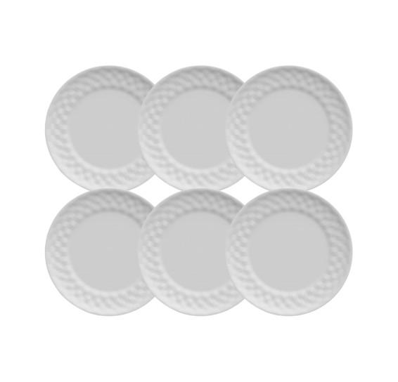 Jogo de 6 pratos para sobremesa plissan germer