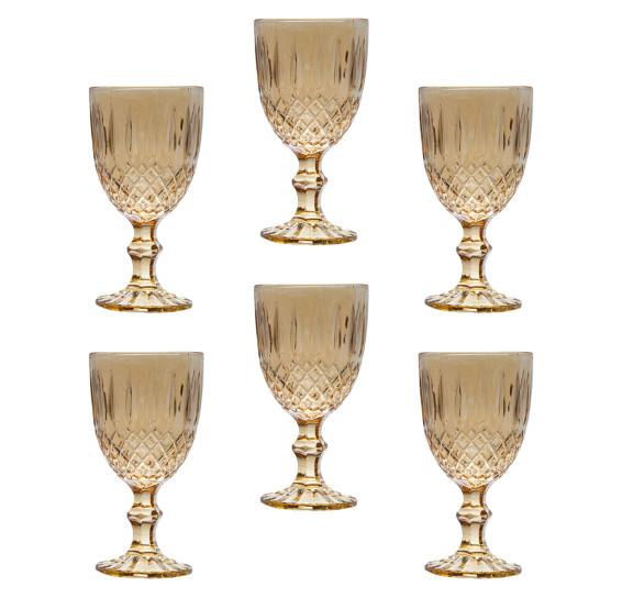 Jogo de 6 taças de vidro greek ambar 220 ml bon gourmet