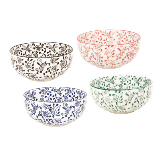 Jogo de bowls em porcelana munique coloridos 13 x 6 cm 4 peças lyor