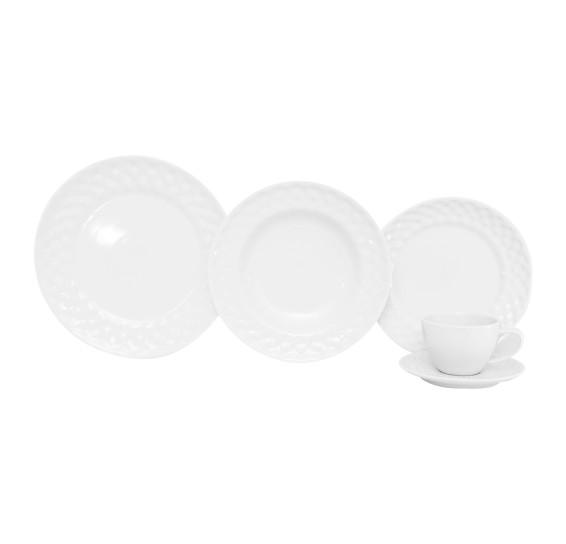 Jogo de jantar 20 peças plissan porcelana germer porcelanas