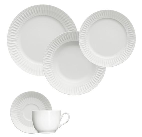 Jogo de jantar 20 peças porcelana diamante germer