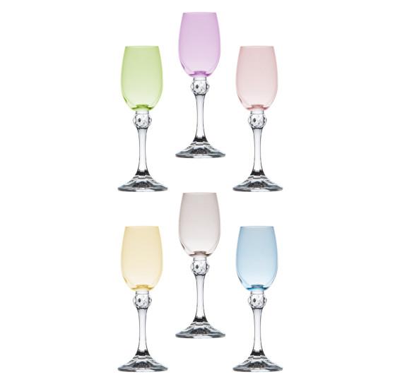 Jogo de taças para licor em cristal elisa 65ml 6 peças bohemia crystal