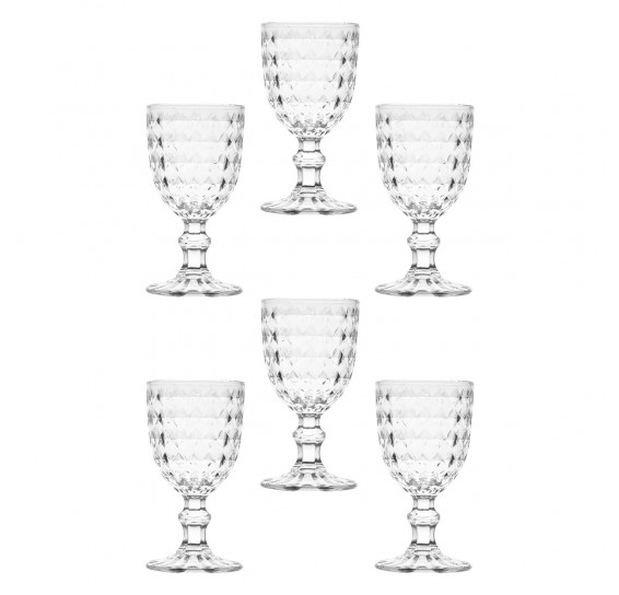 Jogo de taças para vinho de vidro diamant 245ml bon goumert