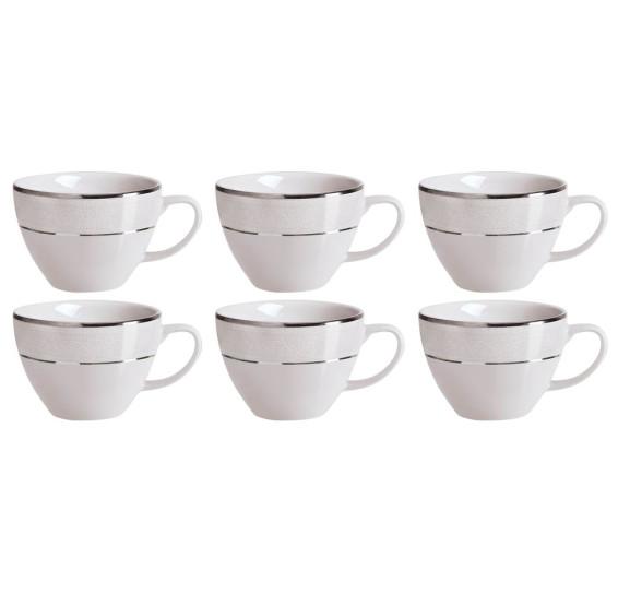 Jogo de 6 xícaras chá com pires cristal germer