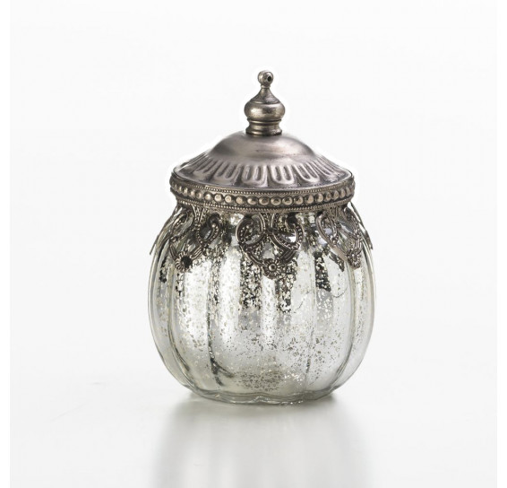 Porta objeto em vidro com tampa 8,5 cm  lyor