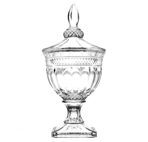 Bomboniere de cristal com pé e tampa brandon 38 cm lyor