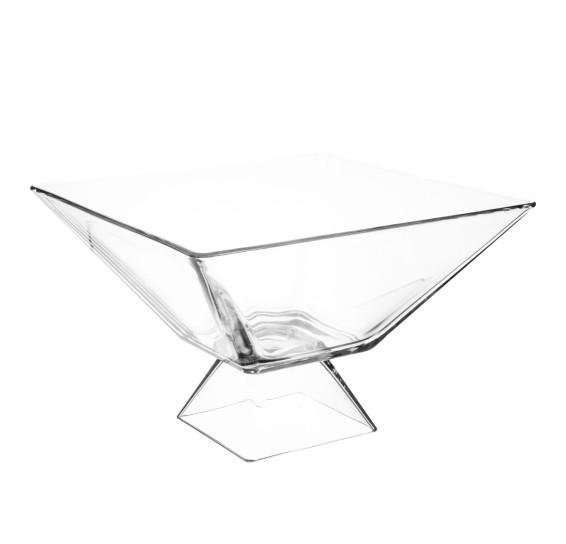 Saladeira de vidro quadrada com pé milão 25 cm ruvolo