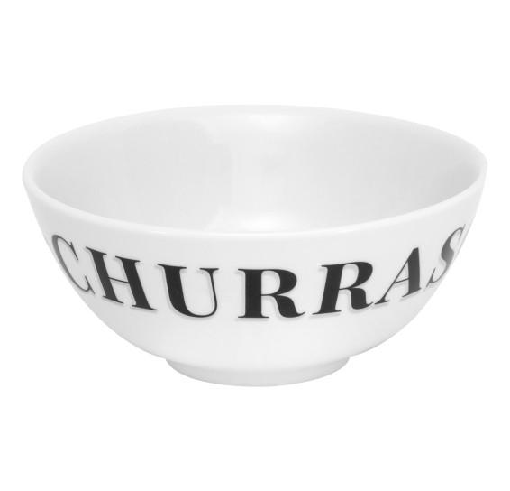 Tigela oriental churrasco porcelana branca germer
