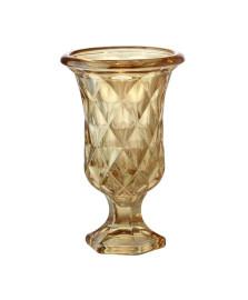 Vaso com pé de vidro diamond ambar metalizado 14,5 x 11,5 cm lyor