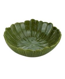 Centro de mesa decorativo de ceramica banana leaf verde 20x20x7cm lyor