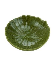 Centro de mesa decorativo de ceramica banana leaf verde 25x25x8,5cm lyor