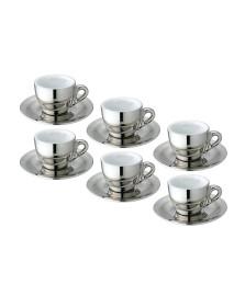 Jogo 06 xícaras café cromado e branco vice versa