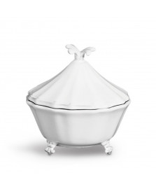 Bowl com tampa cerâmica flor de lis scalla