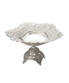 Fruteira com pé 29 cm silver marrocos prestige