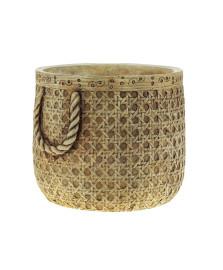Vaso decorativo cimento palha 19x17x15cm