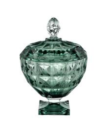 Potiche decorativo cristal de chumbo com pé e tampa diamante verde 18 x 24 cm
