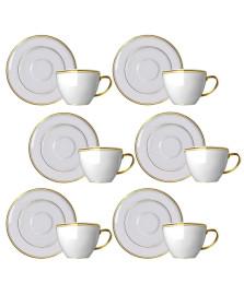 Jogo 06 xícaras chá filete dourado versa germer