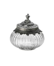 Potiche de vidro com tampa de ferro 14 cm lyor